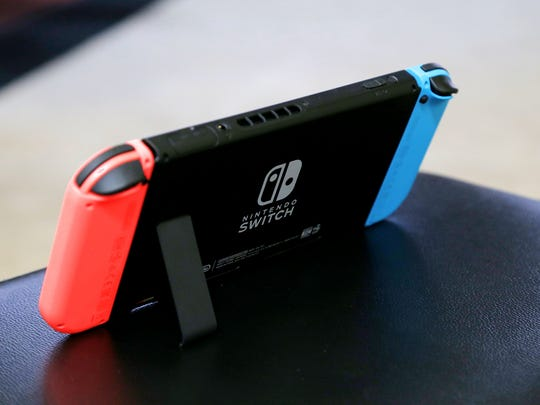 The Nintendo Switch features a kickstand to prop up the device.