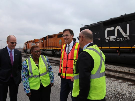 Canada Finance Minister Bill Morneau, second from right, visited Gary, Ind., on April 4, meeting with Gary Mayor Karen Freeman-Wilson.