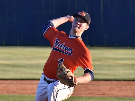 Blackman senior D.J. Wright fires a pitch during Thursday's win over Riverdale. Wright is one of the area's top players.
