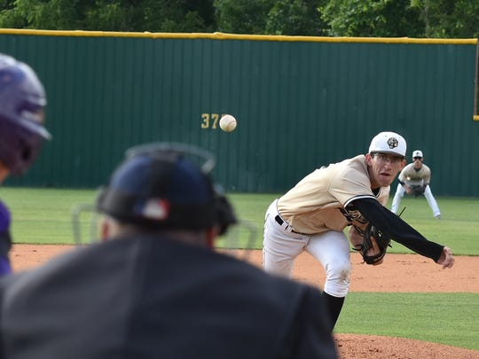 Central Magnet's James Touchton fires a pitch during Wednesday's loss to Covington.