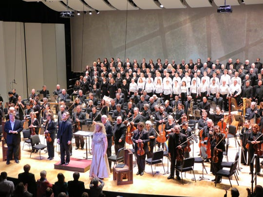 "The cast of Elgar's ""Dream of Gerontius"" conducted by Michael Francis taking bows at the Taft Theatre on Friday night."