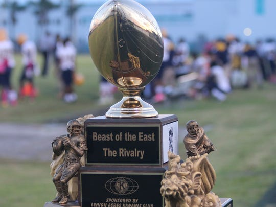 Beast of the East trophy at the Lehigh at East Lee high school football game Friday, Oct. 13, 2017.