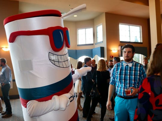 Rockline's mascot entertains guests at Sheboygan's YPWeek kickoff event on April 22, 2017.