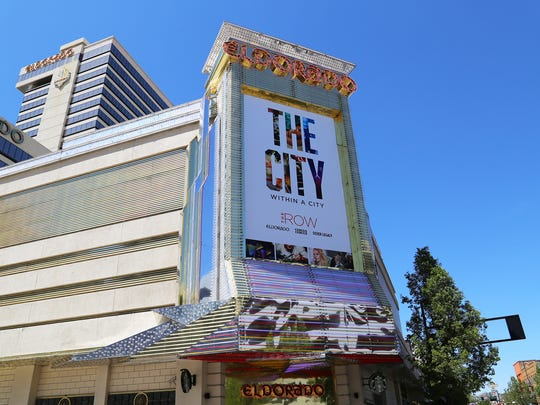 A sign outside of the Eldorado Resort Casino shows the rebranding of the Tri-properties as The Row on May 3, 2018. The three properties are the Eldorado, Silver Legacy and Circus Circus.