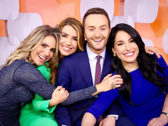 Samuel Burke and his co-anchors from the Cibercafé on CNN en Español: María Alejandra Requena (from left), Elizabeth Pérez and Alejandra Oraa.