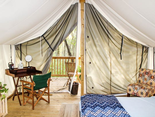 A glamping tent at Seneca Sol.