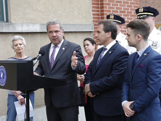 Yonkers Mayor Mike Spano and Police Commissioner Charles Gardner call attention to the rise in mailbox thefts taken place throughout the city of Yonkers, May 30, 2018.