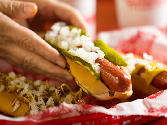 Freddy's Frozen Custard and Steakburgers also offers hot dogs like this Chicago dog.