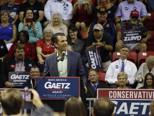 Donald Trump Jr. speaks at a rally in Niceville on