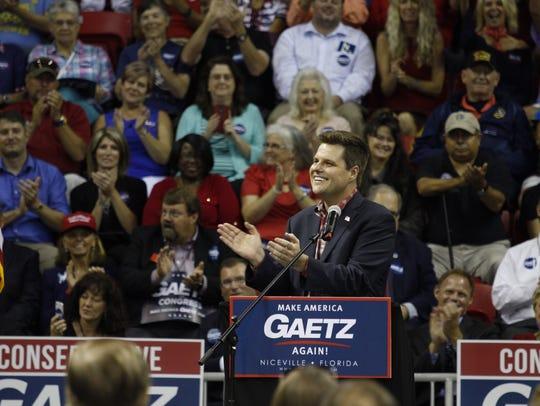 Rep. Matt Gaetz speaks at a rally in Niceville on Thursday,