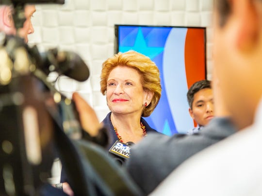 U.S. Sen. Debbie Stabenow, D-Mich., at Grand Valley State University to debate Republican John James on Sunday, Oct. 14, 2018.