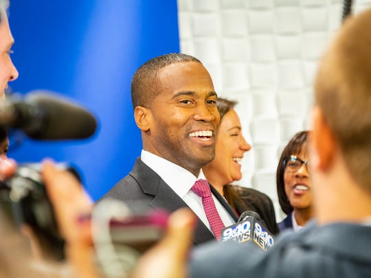 Republican businessman John James at Grand Valley State University to debate U.S. Sen. Debbie Stabenow on Sunday, Oct. 14, 2018.