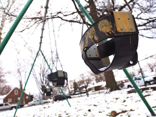 Playground equipment at Diack Park in Detroit on
