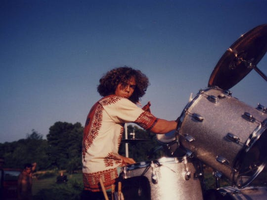 Jamison Stokdyk in 1991 with his drum set. He first
