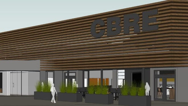 This is a rendering of plans for CBRE's office at 5921 Owensmouth Ave. in Woodland Hills.