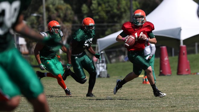 FAMU's Ryan Stanley practices with his teammates on the university's campus on Monday, July 31, 2017.