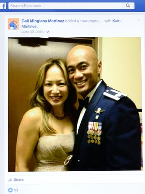 Gail Minglana Martinez and husband, Lt. Col. Kato Martinez are shown in this photo on her Facebook page.