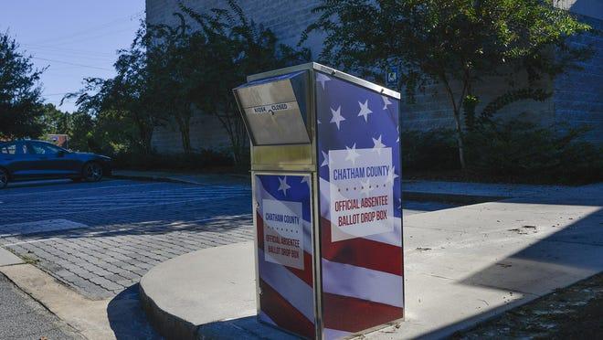 Absentee Ballot Drop Box at the Liberty City Community Center.