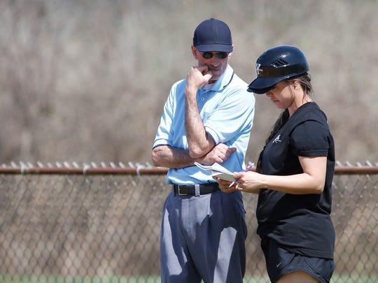 Yorktown falls 3-0 to John Jay during  varsity softball action at John Jay High School in Hopewell Junction on Tuesday, April 11, 2017.