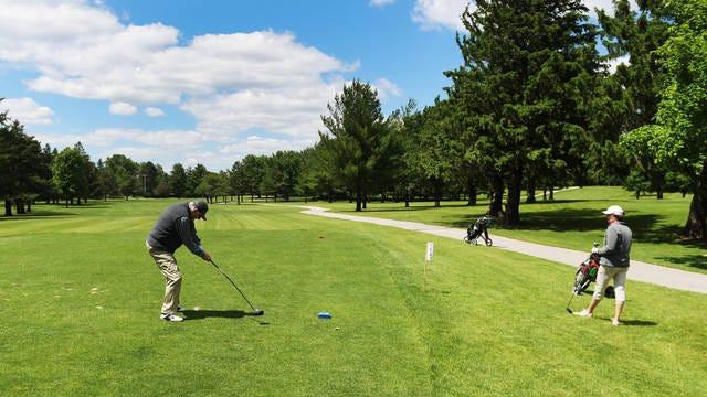 Jan and Leonard Bond enjoy playing golf at Homewood Golf Course on Wednesday in Ames. Photo by Nirmalendu Majumdar/Ames Tribune