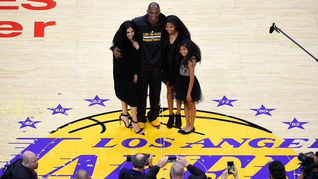 Vanessa Bryant (left), pictured in April 2016 with husband Kobe and daughters Natalia and Gianna, made her first public comments Wednesday since the tragic helicopter crash that claimed the lives of Kobe and GiGi.