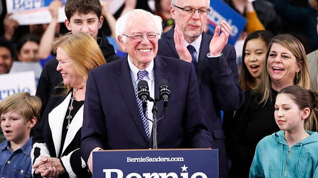 Democratic presidential candidate Sen. Bernie Sanders, I-Vt., speaks to supporters at a primary night election rally in Manchester, N.H. on Tuesday.
