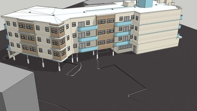 A rendering of the new mixed-use apartment building called Ocean Bay Nantasket shows parking beneath the building.