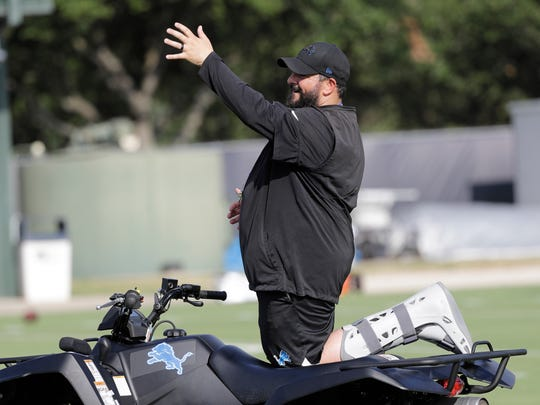 Detroit Lions coach Matt Patricia instructs players during an NFL football joint training camp practice with the Houston Texans Wednesday, Aug. 14, 2019, in Houston. (AP Photo/David J. Phillip)
