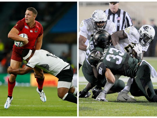 Michigan State has adopted rugby tackling techniques,