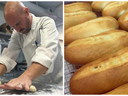 Subito owner Chuck Brezina bakes bread fresh each morning using his owner starter. These soft, enriched white rolls are used for the pulled pork sandwich and sausage and pepper hoagie.
