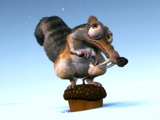 Scrat and the acorn he faithfully chases made their