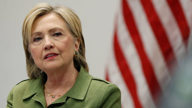 In this photo taken Aug. 18, 2016, Democratic presidential candidate Hillary Clinton speaks to media as she meets with law enforcement leaders at John Jay College of Criminal Justice in New York.