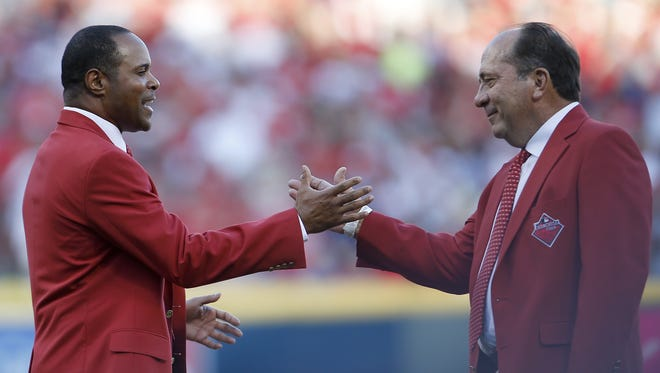 Reds greats and Hall of Famers Barry Larkin, left, and Johnny Bench are recognized as one of the Franchise Four prior to the 2015 MLB All-Star Game, Tuesday, July 14, 2015, at Great American Ball Park in Cincinnati.