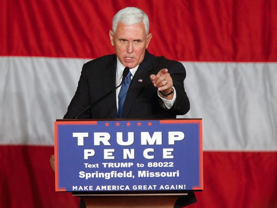 Then-Republican Vice Presidential Candidate Mike Pence speaks during a town hall meeting at the Springfield Exposition Center in Springfield, MO on Tuesday, September 6, 2016.