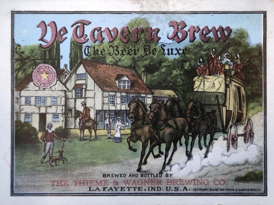A 1915 postcard featuring Ye Tavern Brew by The Thieme & Wagner Brewing Co. is part of Walt Griffin's Thieme & Wagner collection Tuesday, July 26, 2016, in his Lafayette home.
