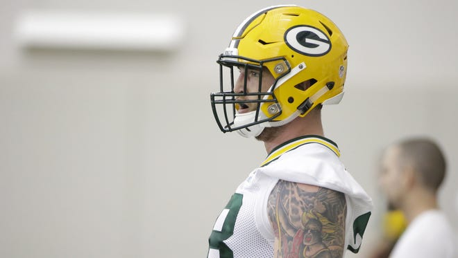 Green Bay Packers Jason Spriggs (78) drills during rookie camp practice in the Don Hutson Center.