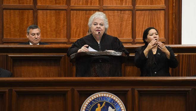 Supreme Court of Guam Chief Justice Katherine A. Maraman delivers the 2018 State of the Judiciary Address at the Guam Congress Building on May 1, 2018.