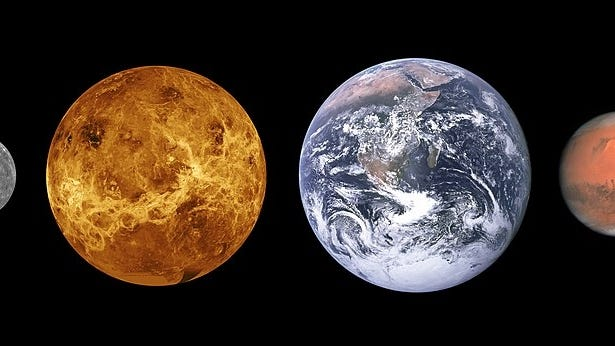 Comparative sizes of the first four planets from the sun. From left: Mercury, Venus, Earth and Mars. Earth is close to 8,000 miles wide.
