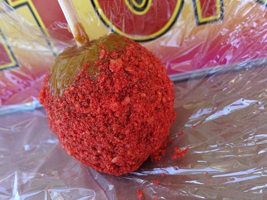 Flamin' Hot Cheetos caramel apple from Candy Factory