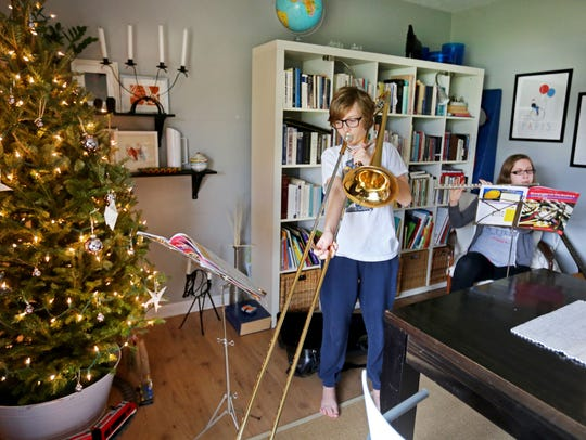 Leo and Livia Wendland play their instruments during