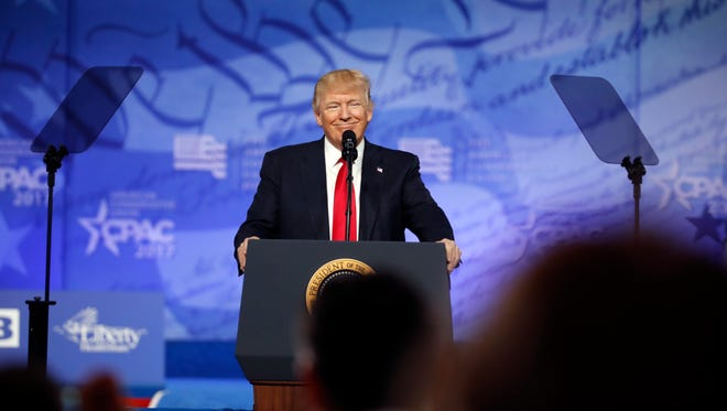President Donald Trump speaks at the Conservative Political Action Conference (CPAC), Friday, Feb. 24, 2017, in Oxon Hill, Md.
