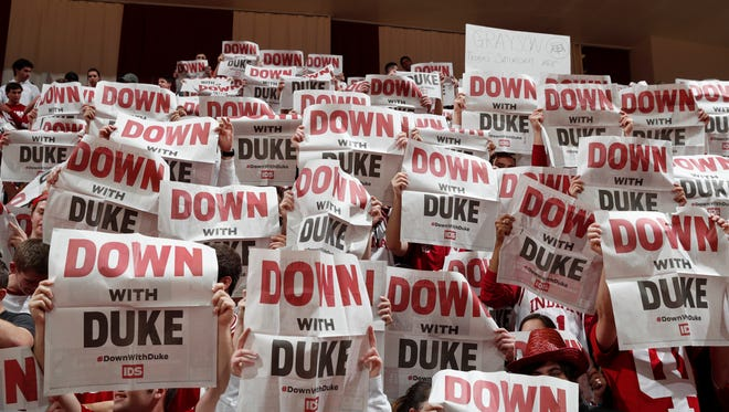 Nov 29, 2017; Bloomington, IN, USA; Indiana Hoosiers fans hold up newspaper signs in a game against the Duke Blue Devils during the first half at Assembly Hall. Mandatory Credit: Brian Spurlock-USA TODAY Sports