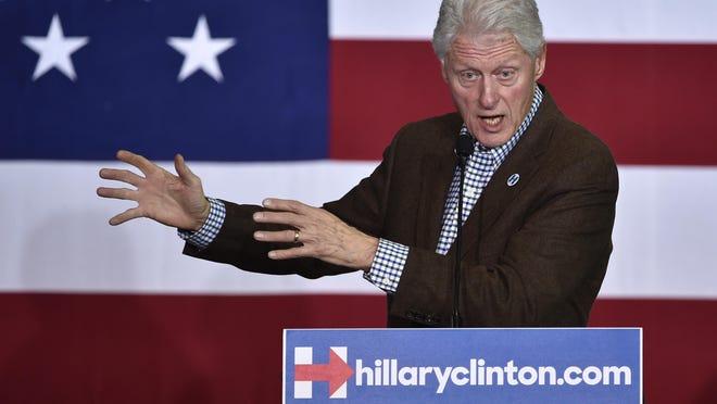 Former President Bill Clinton speaks at an event for Hillary Clinton, on Thursday.