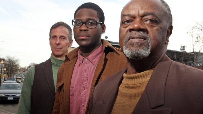 From left, playwright-activist Mark Judel son, Spring Valley High School senior Kevin Castel and Spring Valley NAACP President Willie Trotman ose March 11 in Spring Valley.