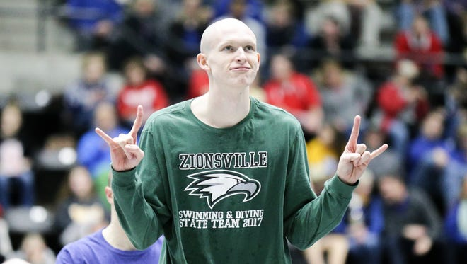 Zionsville's Jack Franzman takes 1st in the 50 yard freestyle, during the 2017 IHSAA High School Boys Swimming and Diving State Finals, held at the IUPUI Natatorium, Feb. 25, 2017.