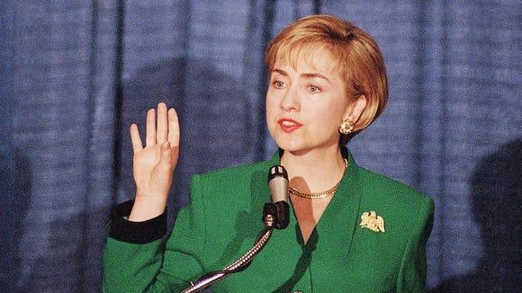Hillary Clinton speaks in Washington on April 11, 1994.