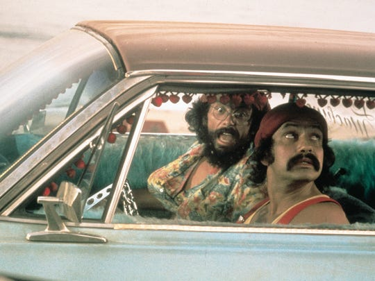 Tommy Chong, left, and Cheech Marin in a scene from