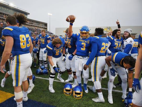 South Dakota State University celebrates their win