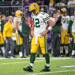 Packers quarterback Aaron Rodgers reacts during the third quarter against the Vikings at U.S. Bank Stadium. The Vikings defeated the Packers 17-14.