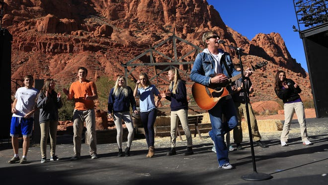 Scott Helmer performs at Tuacahn Amphitheatre in Ivins City on Tuesday as part of his Guiness World Record attempt for most concerts in 24 hours.